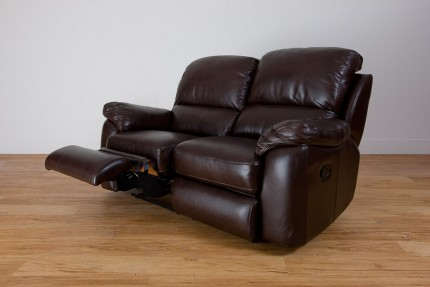 Brown leather reclined recliner sofa product photo