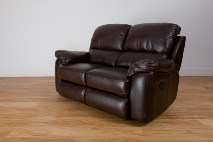 Brown leather recliner sofa product photo