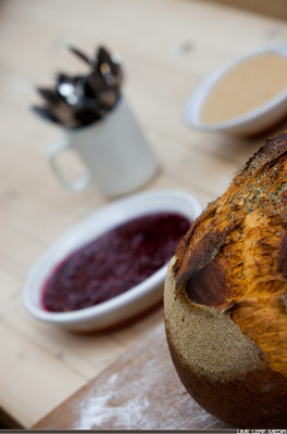 Bread with jam and cutlery