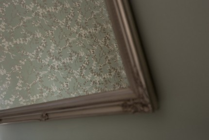Reflection of floral wallpaper