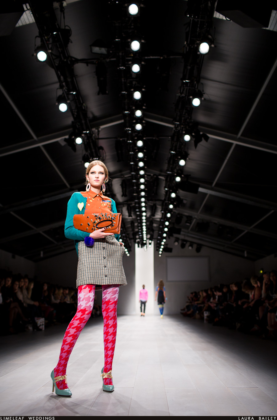 Model wears fashion pieces from Henry Hollands collection at London Fashion week 2012