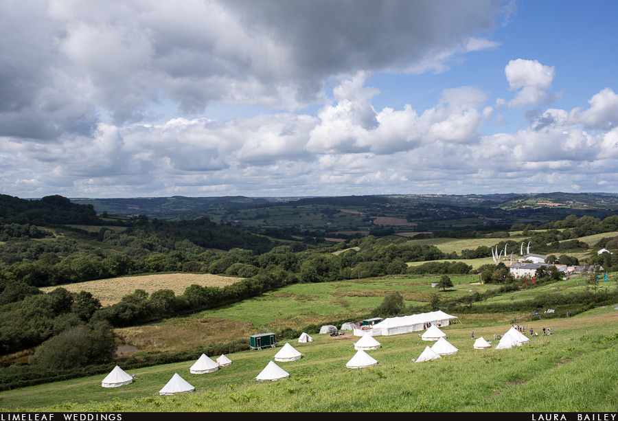 View of River Cottage HQ and the pop up hotel and beyond over the Axminster valleys