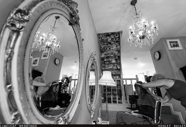 Bride is seen getting her hair done in the hairdressers