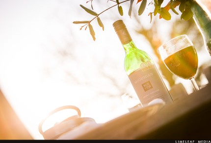 Backlit wine and glass