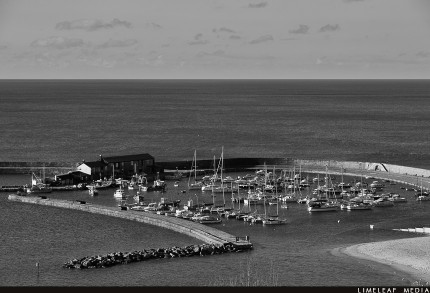 Black and white of the Cobb in Lyme Regis