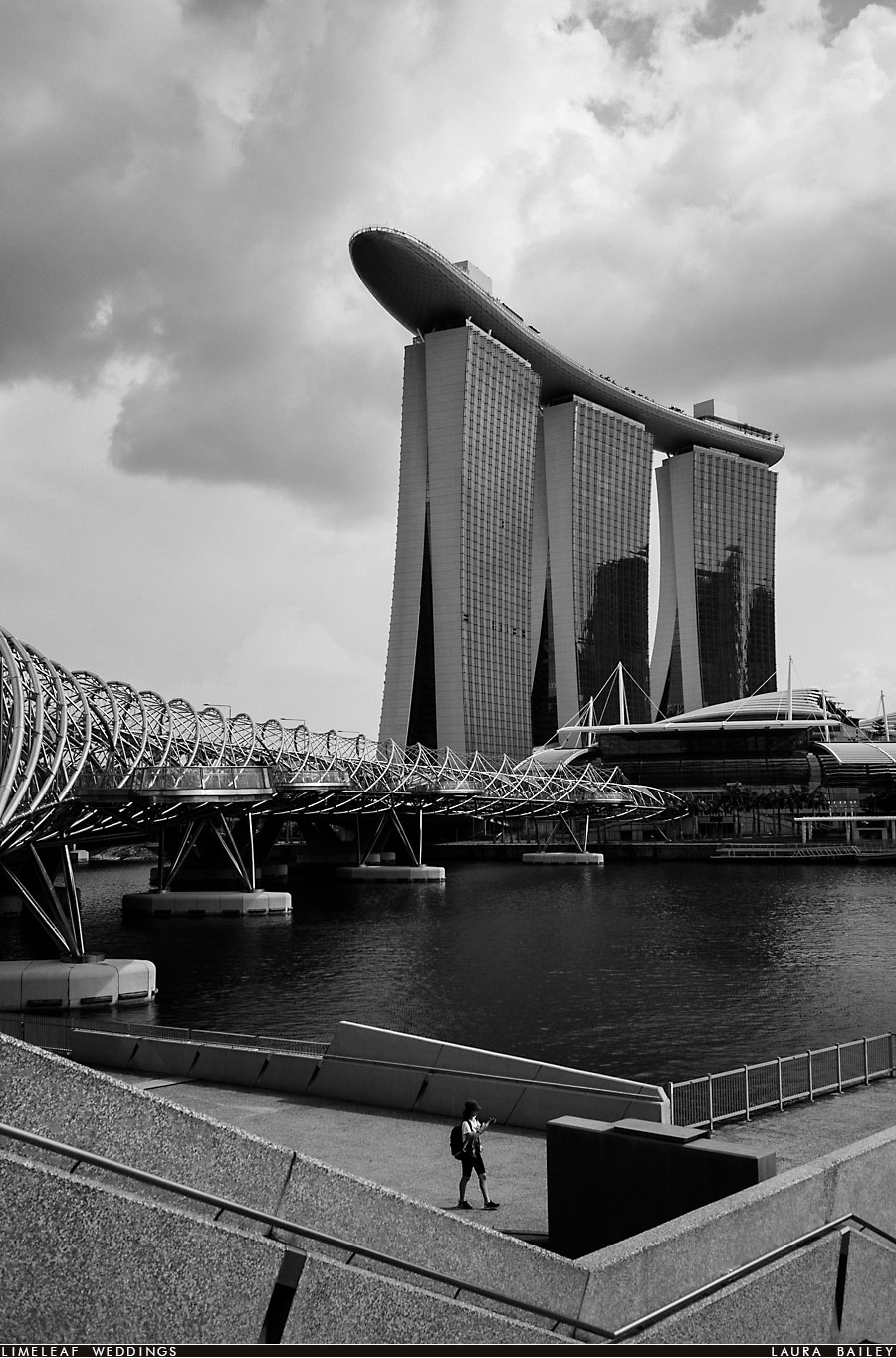 The Marina Bay Sands (MBS) Hotel in front of the double helix bridge in Singapore