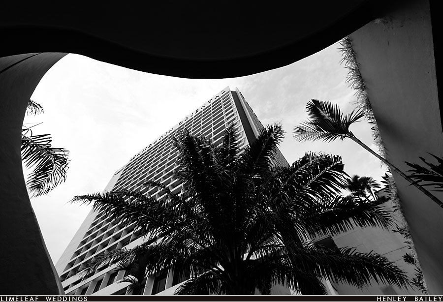 The Mandarin Oriental hotel in Singapore framed by palm trees