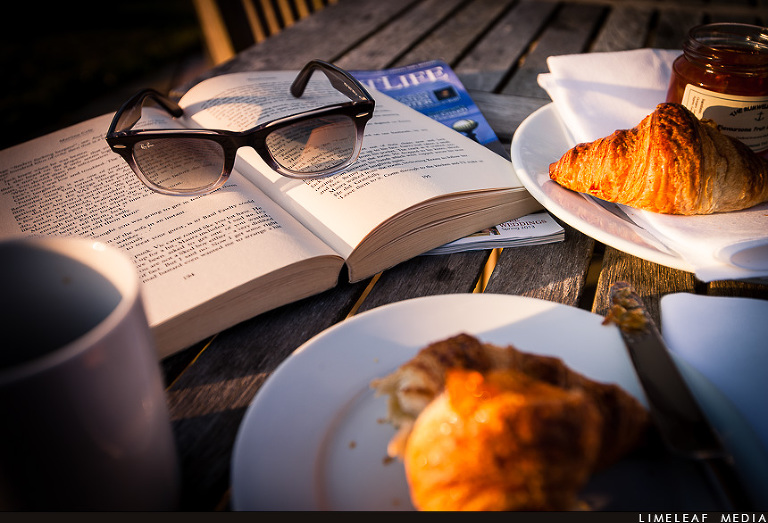 reading and croissant for breakfast